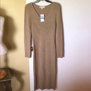 NWT Camel Gold Michael Kors Sweater Dress Sz. Lg